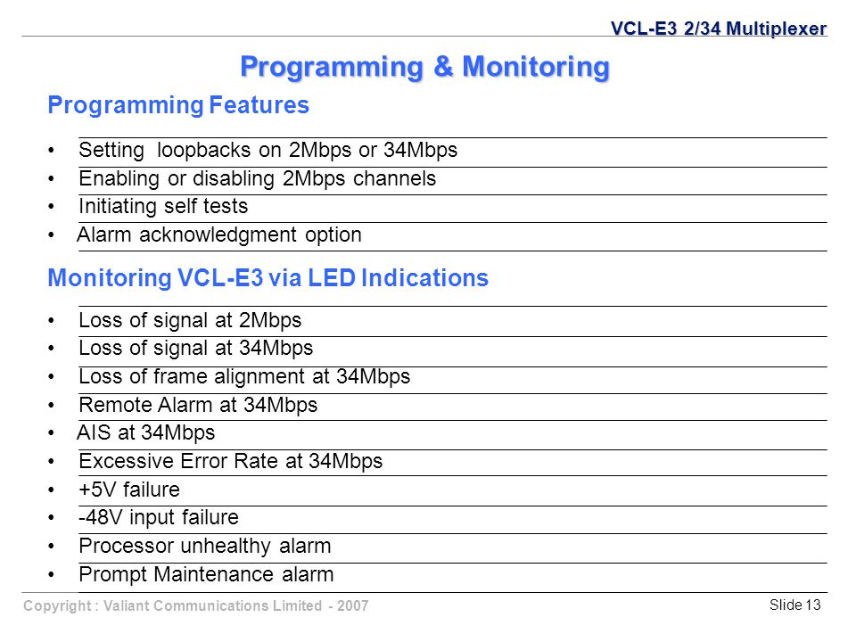 Copyright : Valiant Communications Limited - 2007Slide 13 Programming & Monitoring Programming Features Setting loopbacks on 2Mbps or 34Mbps Enabling