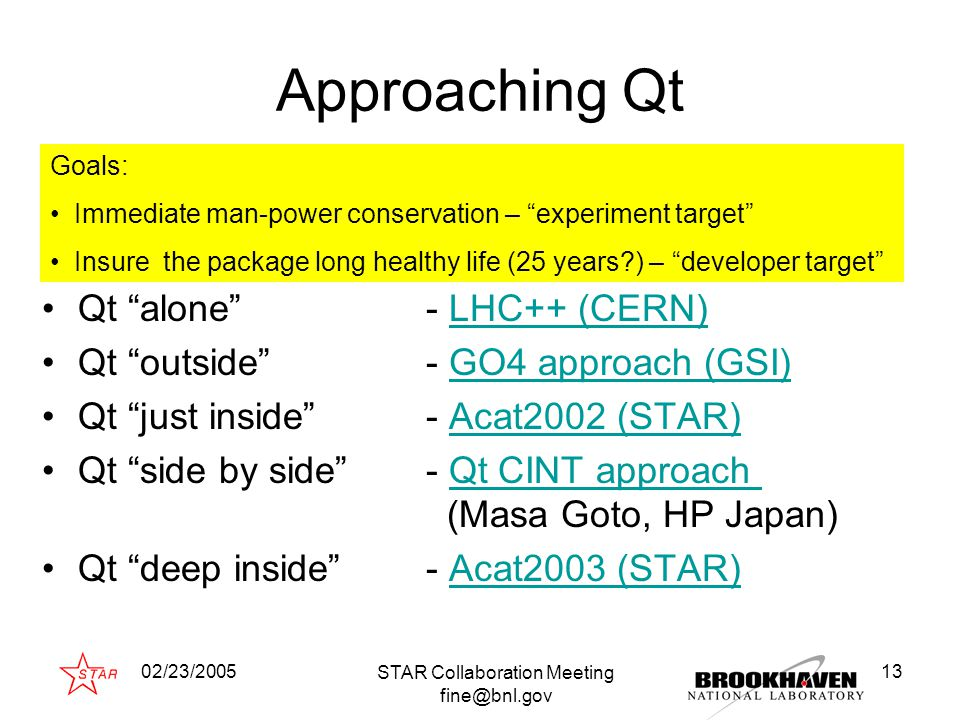 "02/23/2005 STAR Collaboration Meeting fine@bnl.gov 13 Approaching Qt Qt ""alone"" - LHC++ (CERN)LHC++ (CERN) Qt ""outside""- GO4 approach (GSI)GO4 approac"