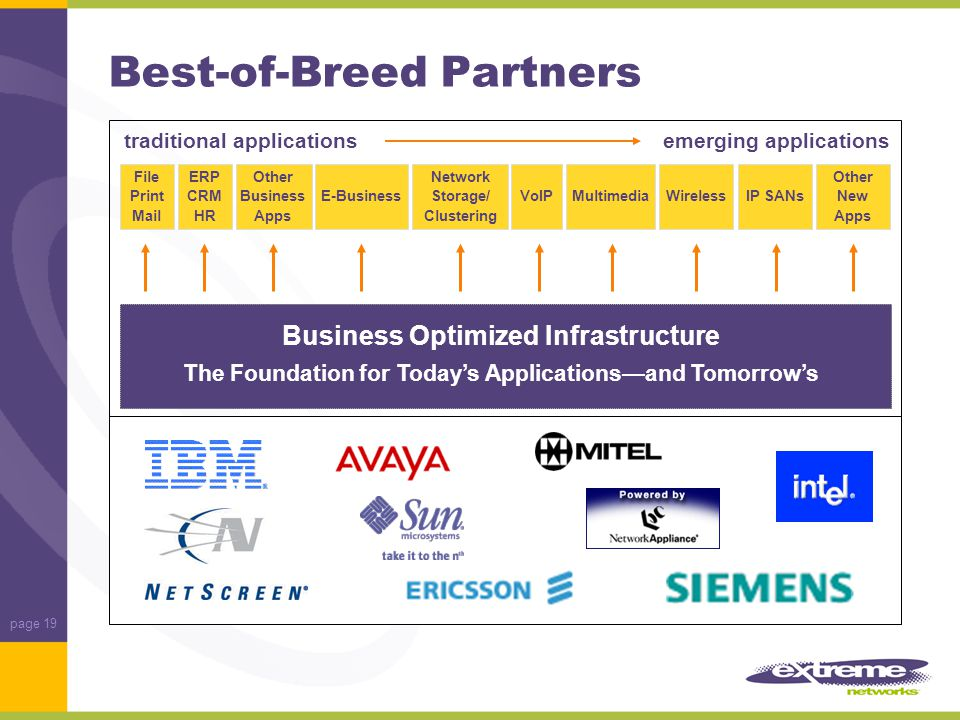 page 19 Best-of-Breed Partners File Print Mail ERP CRM HR Other Business Apps E-Business Network Storage/ Clustering VoIPMultimediaWirelessIP SANs Other New Apps Business Optimized Infrastructure The Foundation for Today's Applications—and Tomorrow's traditional applicationsemerging applications