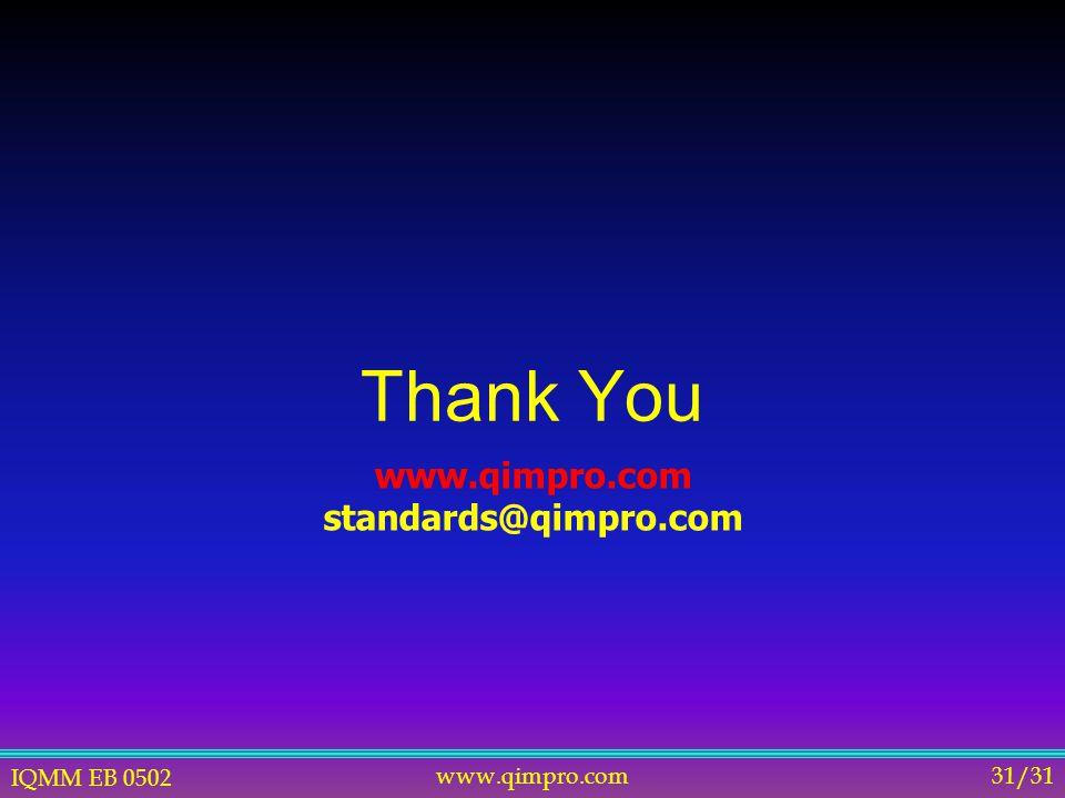 IQMM EB 0502 www.qimpro.com31/31 Thank You www.qimpro.com standards@qimpro.com
