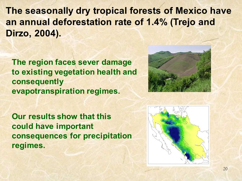 20 The region faces sever damage to existing vegetation health and consequently evapotranspiration regimes.