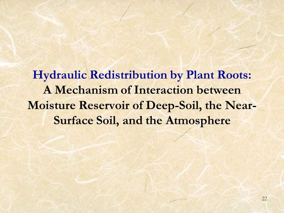22 Hydraulic Redistribution by Plant Roots: A Mechanism of Interaction between Moisture Reservoir of Deep-Soil, the Near- Surface Soil, and the Atmosphere