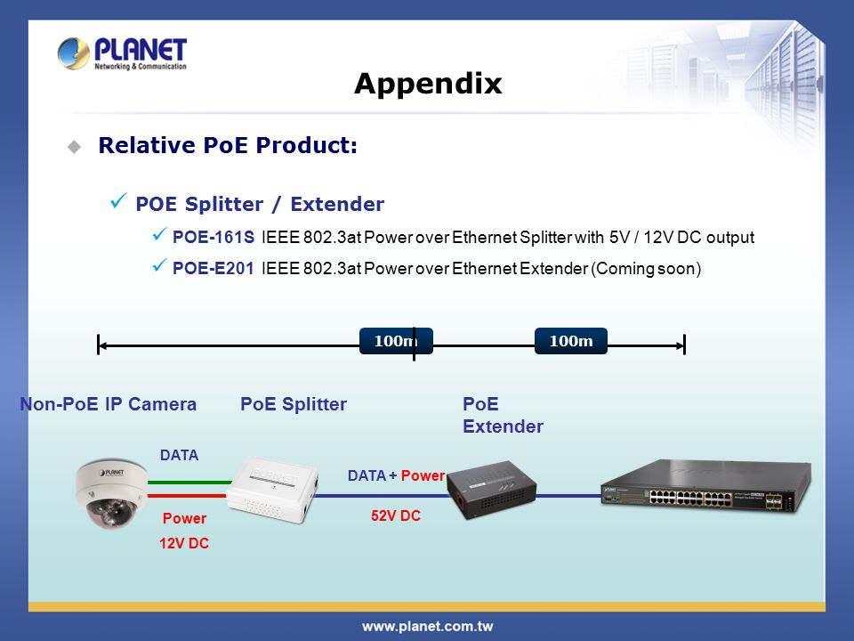 Appendix  Relative PoE Product: POE Splitter / Extender POE-161S IEEE 802.3at Power over Ethernet Splitter with 5V / 12V DC output POE-E201 IEEE 802.3at Power over Ethernet Extender (Coming soon) Non-PoE IP CameraPoE Splitter DATA + Power 52V DC DATA Power 12V DC 100m PoE Extender