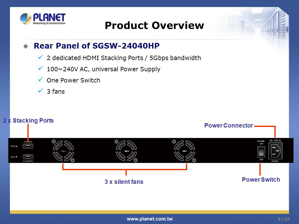 9 / 25 Product Overview  Rear Panel of SGSW-24040HP 2 dedicated HDMI Stacking Ports / 5Gbps bandwidth 100~240V AC, universal Power Supply One Power Switch 3 fans Power Switch 2 x Stacking Ports 3 x silent fans Power Connector