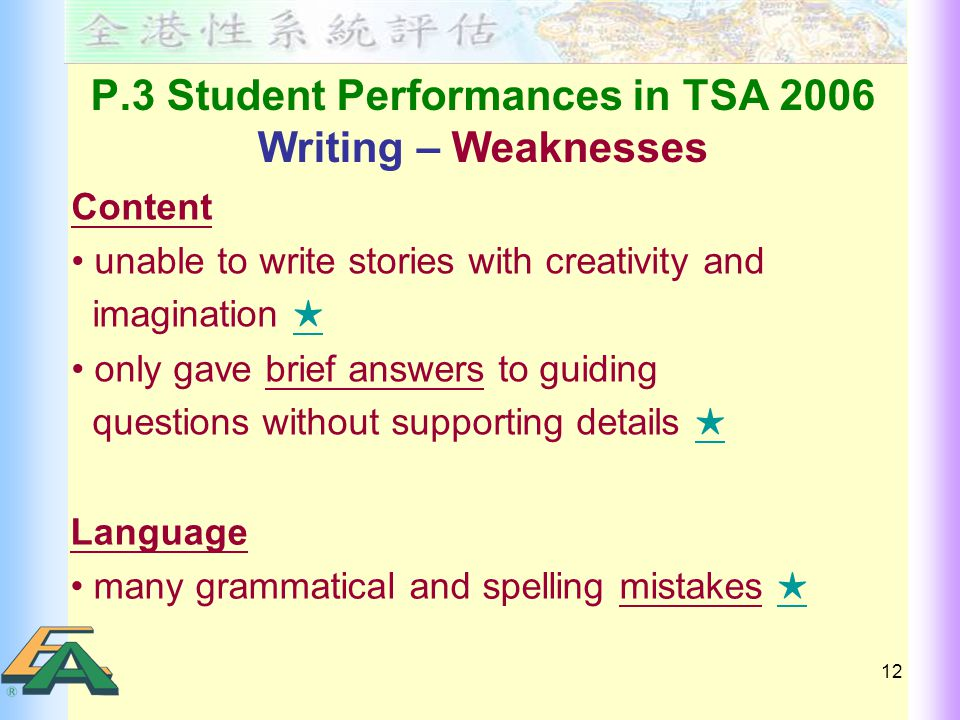 12 P.3 Student Performances in TSA 2006 Writing – Weaknesses Content unable to write stories with creativity and imagination ★ ★ only gave brief answers to guiding questions without supporting details ★ ★ Language many grammatical and spelling mistakes ★ ★