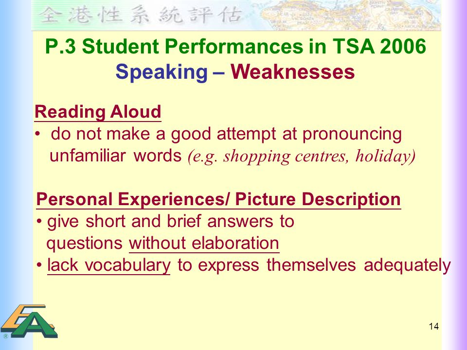 14 P.3 Student Performances in TSA 2006 Speaking – Weaknesses Reading Aloud do not make a good attempt at pronouncing unfamiliar words (e.g.