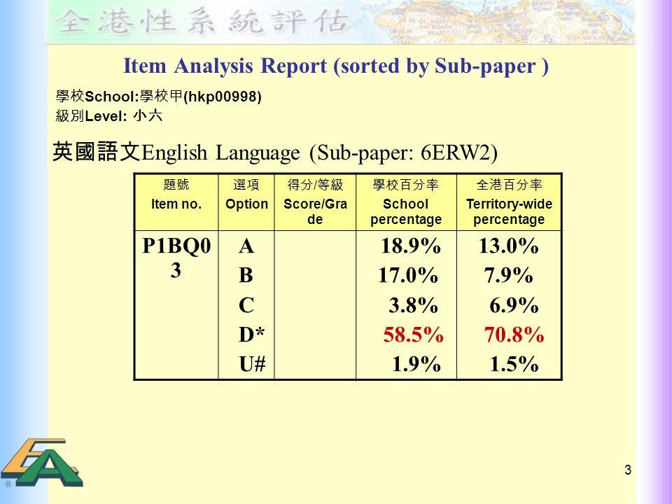 4 範疇 Skill 基本能力 Basic Competency 卷別 Sub- paper 題號 Item no.