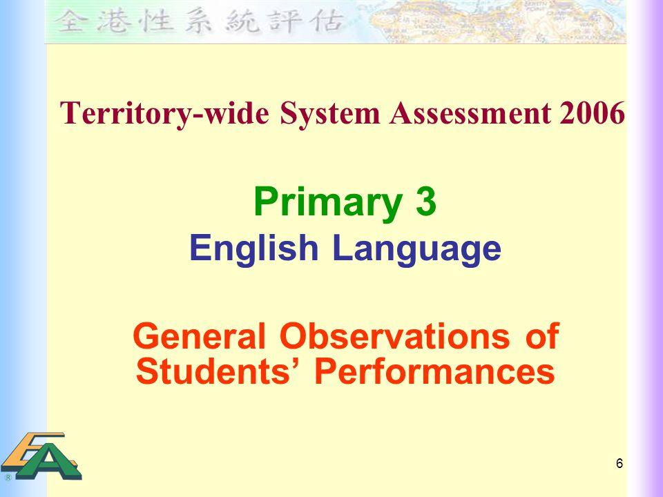 27 P.6 Student Performances in TSA 2006 Speaking – Weaknesses Pronunciation e.g.