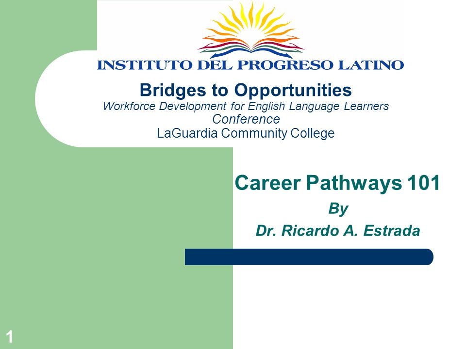 1 Bridges to Opportunities Workforce Development for English Language Learners Conference LaGuardia Community College Career Pathways 101 By Dr.