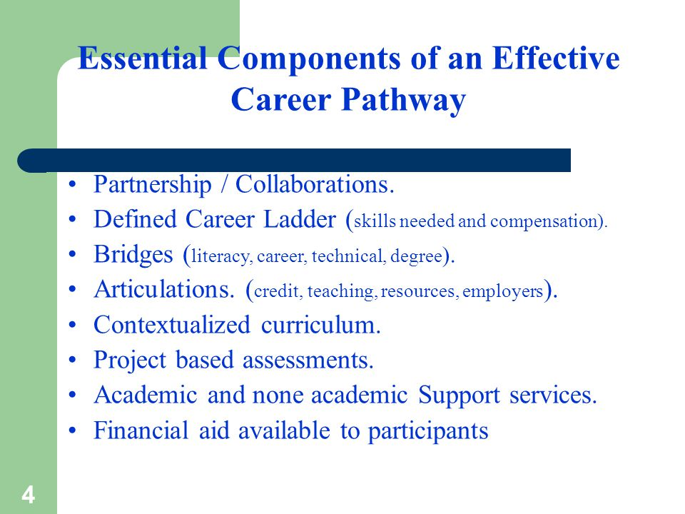 4 Essential Components of an Effective Career Pathway Partnership / Collaborations.
