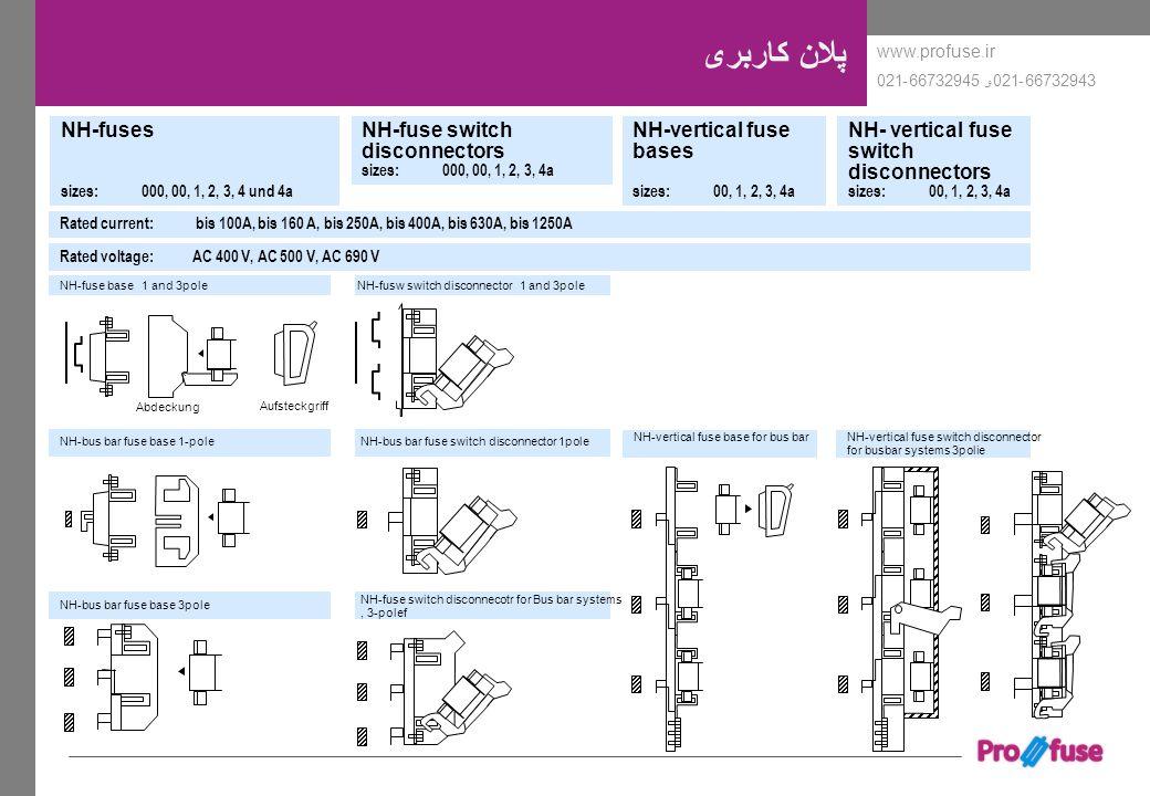 www.profuse.ir 66732943-021و 66732945-021 NH-fuse base 1 and 3pole NH-bus bar fuse base 1-pole NH-bus bar fuse base 3pole پلان کاربری NH-fusw switch d