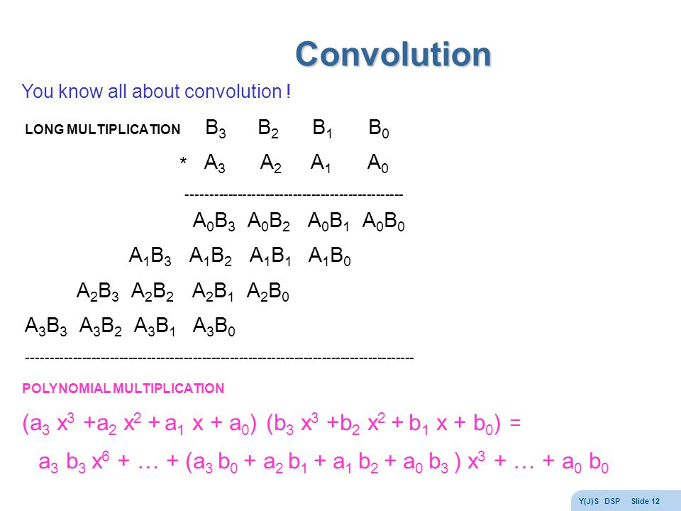Y(J)S DSP Slide 12 Convolution You know all about convolution .