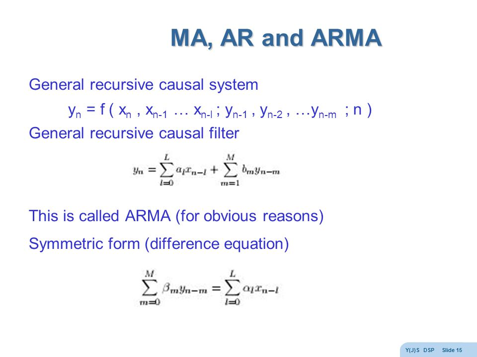Y(J)S DSP Slide 15 MA, AR and ARMA General recursive causal system y n = f ( x n, x n-1 … x n-l ; y n-1, y n-2, …y n-m ; n ) General recursive causal filter This is called ARMA (for obvious reasons) Symmetric form (difference equation)