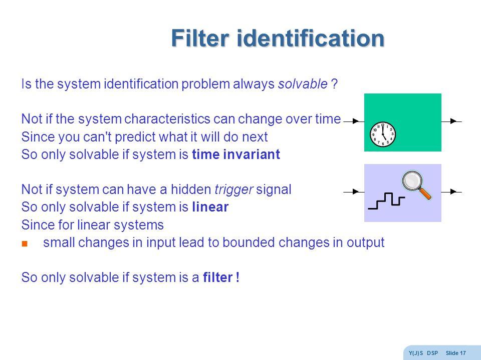 Y(J)S DSP Slide 17 Filter identification Is the system identification problem always solvable .