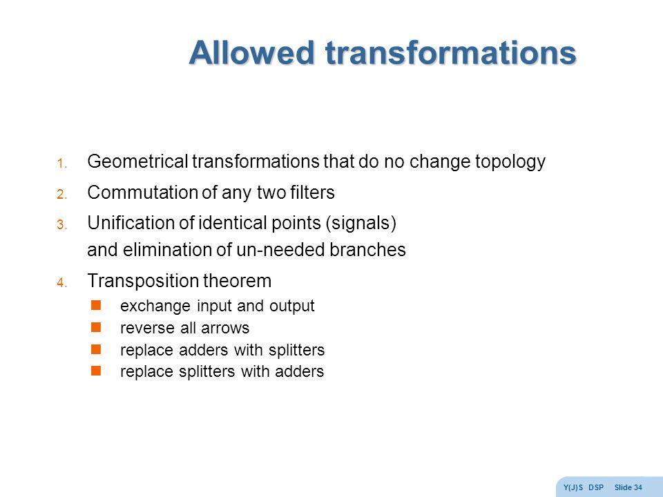 Y(J)S DSP Slide 34 Allowed transformations 1.
