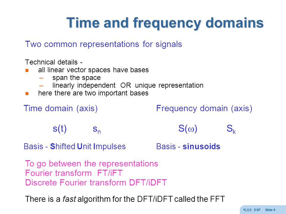 Y(J)S DSP Slide 6 Time and frequency domains Two common representations for signals Technical details - all linear vector spaces have bases –span the space –linearly independent OR unique representation here there are two important bases Time domain (axis) s(t) s n Basis - Shifted Unit Impulses Frequency domain (axis) S(  ) S k Basis - sinusoids To go between the representations Fourier transform FT/iFT Discrete Fourier transform DFT/iDFT There is a fast algorithm for the DFT/iDFT called the FFT