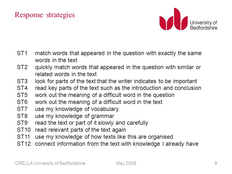 May 2008CRELLA University of Bedfordshire9 Response strategies ST1match words that appeared in the question with exactly the same words in the text ST2quickly match words that appeared in the question with similar or related words in the text ST3look for parts of the text that the writer indicates to be important ST4read key parts of the text such as the introduction and conclusion ST5work out the meaning of a difficult word in the question ST6work out the meaning of a difficult word in the text ST7use my knowledge of vocabulary ST8use my knowledge of grammar ST9read the text or part of it slowly and carefully ST10read relevant parts of the text again ST11use my knowledge of how texts like this are organised ST12connect information from the text with knowledge I already have