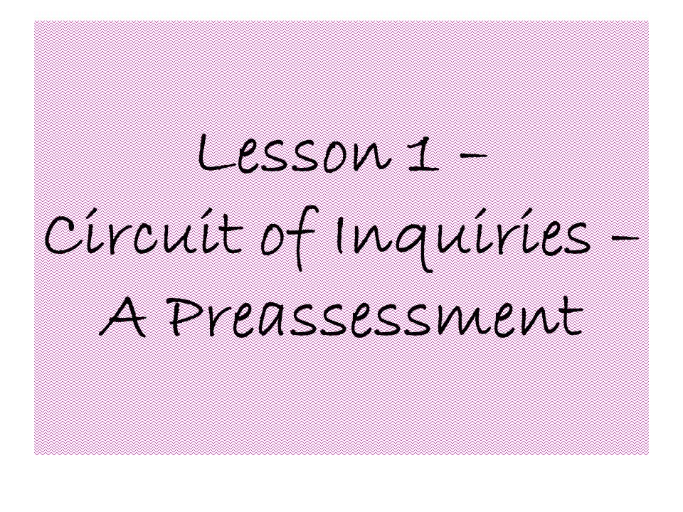 Lesson 1 – Circuit of Inquiries – A Preassessment