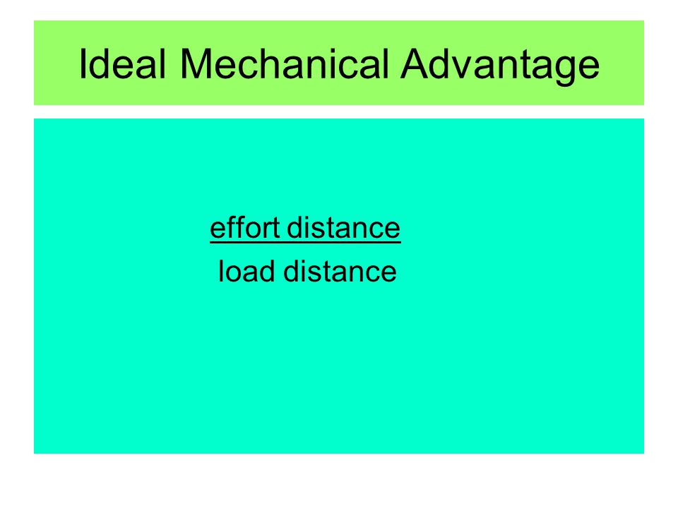 Ideal Mechanical Advantage effort distance load distance