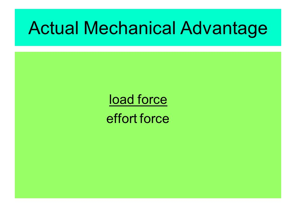 Actual Mechanical Advantage load force effort force