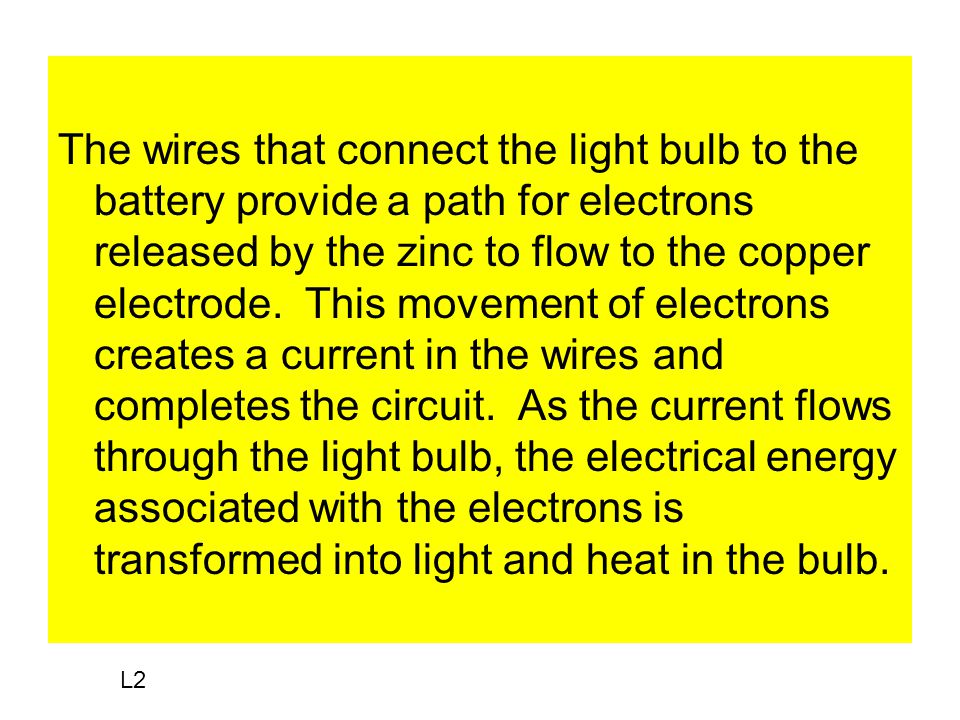 The wires that connect the light bulb to the battery provide a path for electrons released by the zinc to flow to the copper electrode.