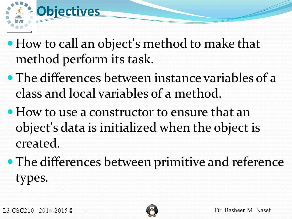 L3:CSC210 2014-2015 © Dr. Basheer M. Nasef 16 UML Class Diagram