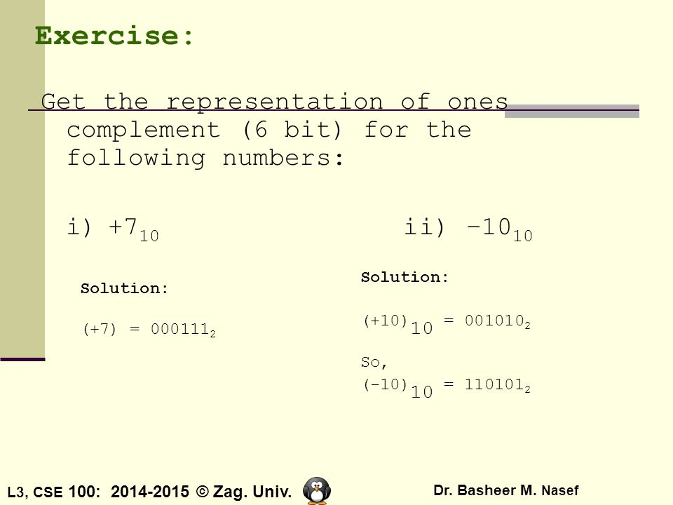 L3, CSE 100: 2014-2015 © Zag. Univ. Dr. Basheer M. Nasef Exercise: Get the representation of ones complement (6 bit) for the following numbers: i)+7 1