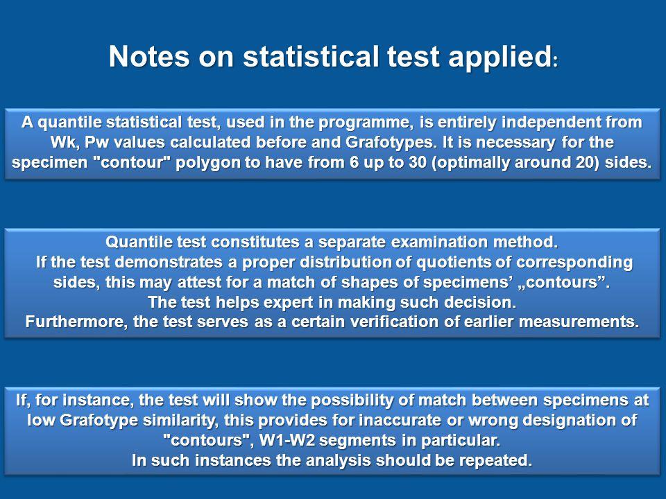 Shape coefficient of specimen A Shape coefficient of specimenB Shape coefficients match Grafotypes match Message of quantile test Specimens after anal
