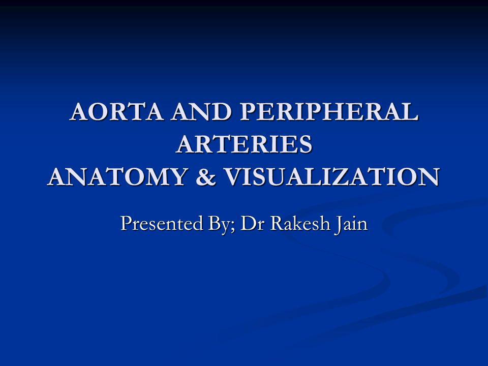 AORTA AND PERIPHERAL ARTERIES ANATOMY & VISUALIZATION Presented By; Dr Rakesh Jain