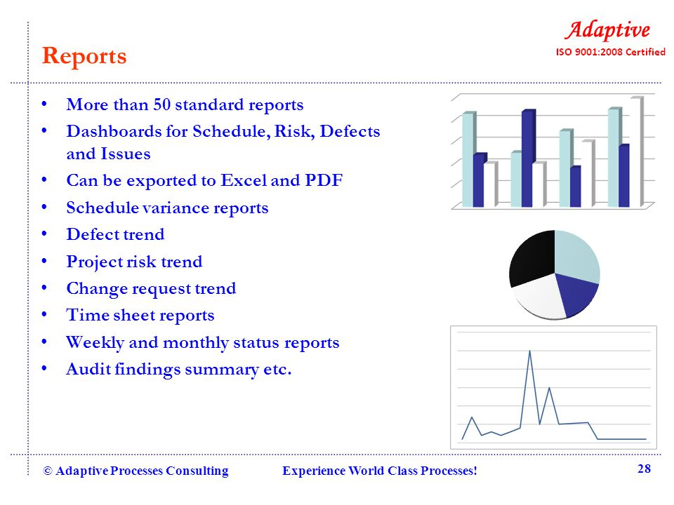 Reports More than 50 standard reports Dashboards for Schedule, Risk, Defects and Issues Can be exported to Excel and PDF Schedule variance reports Def