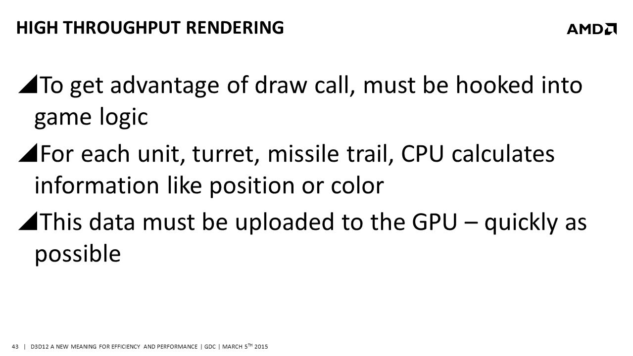 | D3D12 A NEW MEANING FOR EFFICIENCY AND PERFORMANCE | GDC | MARCH 5 TH 2015 43 HIGH THROUGHPUT RENDERING  To get advantage of draw call, must be hoo