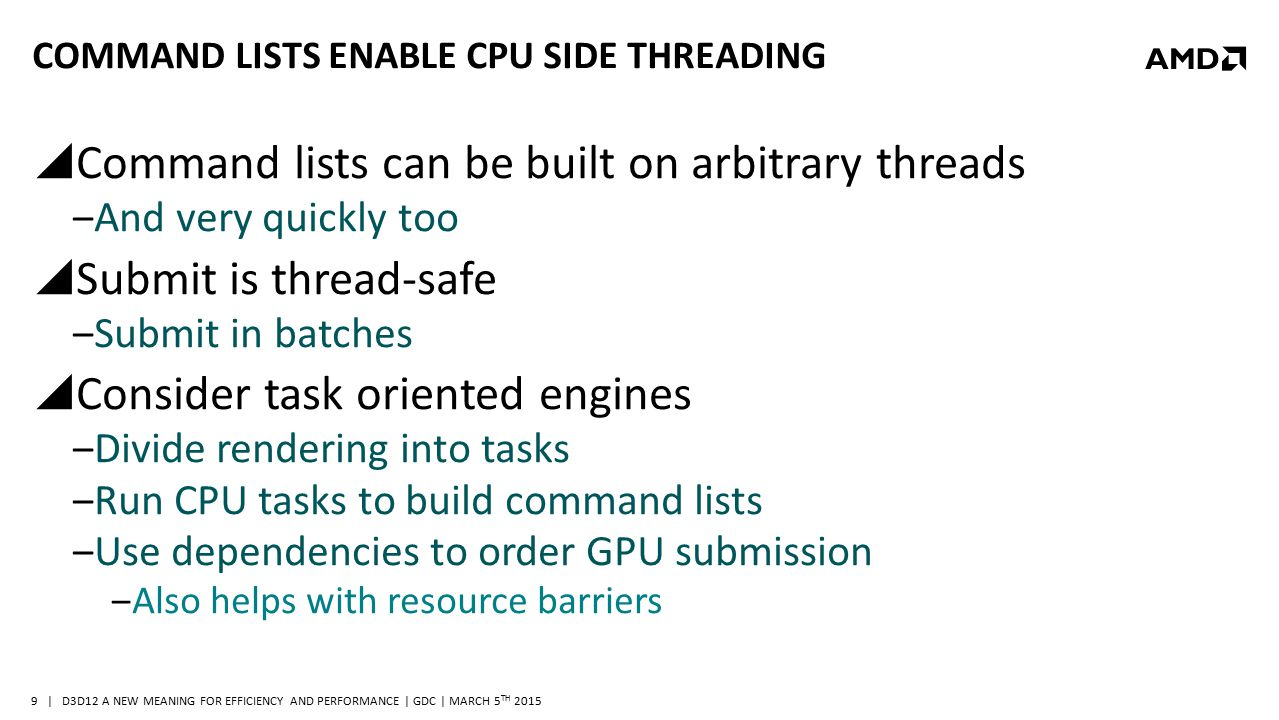 | D3D12 A NEW MEANING FOR EFFICIENCY AND PERFORMANCE | GDC | MARCH 5 TH 2015 9 COMMAND LISTS ENABLE CPU SIDE THREADING  Command lists can be built on