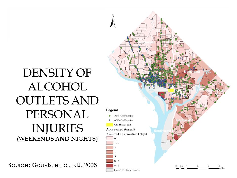 DENSITY OF ALCOHOL OUTLETS AND PERSONAL INJURIES (WEEKENDS AND NIGHTS) 11 Source: Gouvis, et.