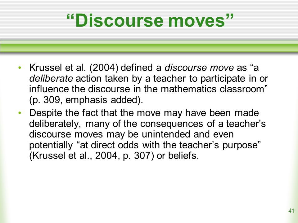 41 Discourse moves Krussel et al.