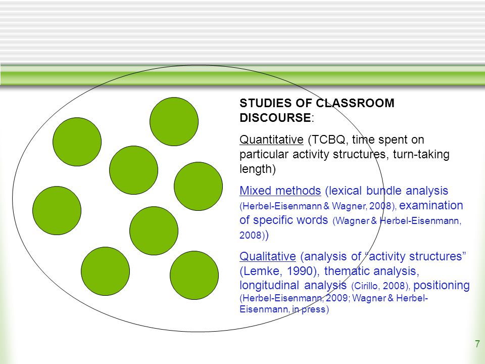 7 STUDIES OF CLASSROOM DISCOURSE: Quantitative (TCBQ, time spent on particular activity structures, turn-taking length) Mixed methods (lexical bundle analysis (Herbel-Eisenmann & Wagner, 2008), examination of specific words (Wagner & Herbel-Eisenmann, 2008) ) Qualitative (analysis of activity structures (Lemke, 1990), thematic analysis, longitudinal analysis (Cirillo, 2008), positioning (Herbel-Eisenmann, 2009; Wagner & Herbel- Eisenmann, in press)