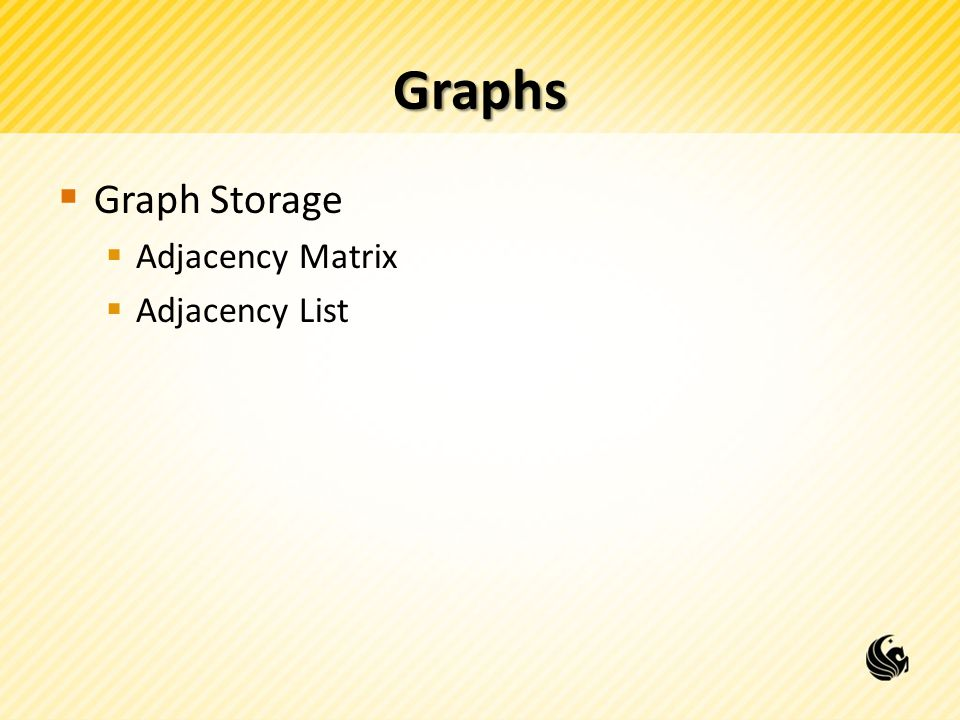 Graphs  Graph Storage  Adjacency Matrix  Adjacency List