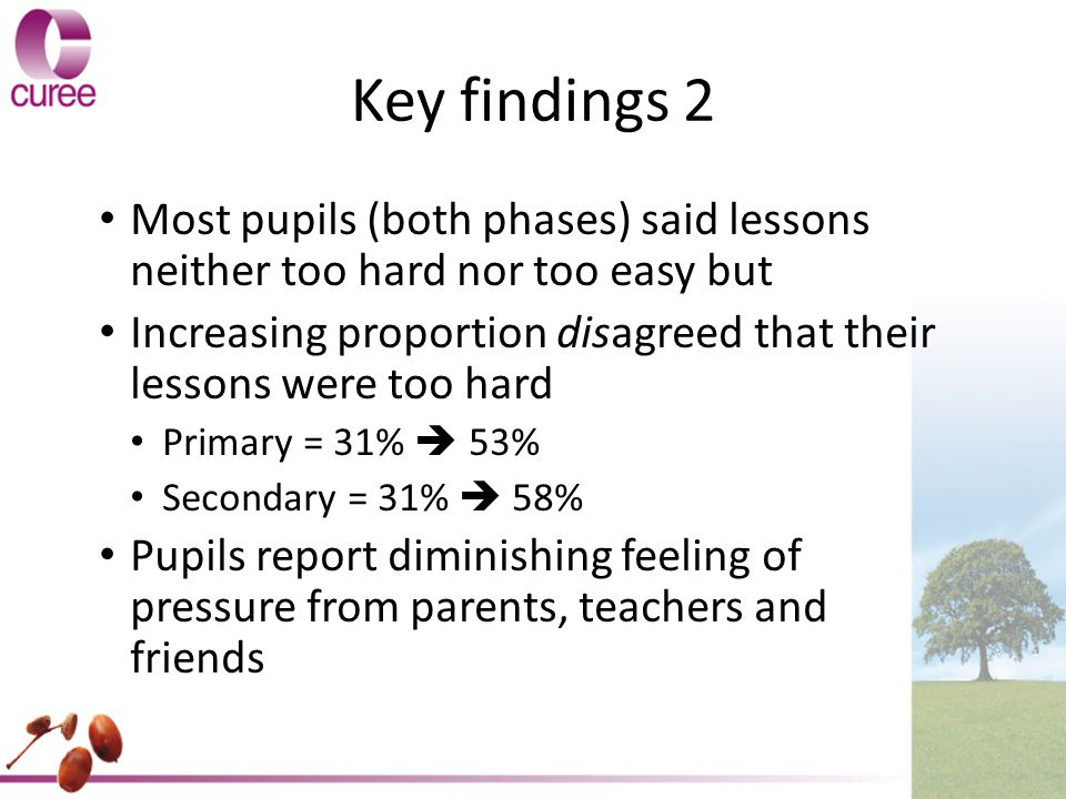 Key findings 2 Most pupils (both phases) said lessons neither too hard nor too easy but Increasing proportion disagreed that their lessons were too hard Primary = 31%  53% Secondary = 31%  58% Pupils report diminishing feeling of pressure from parents, teachers and friends