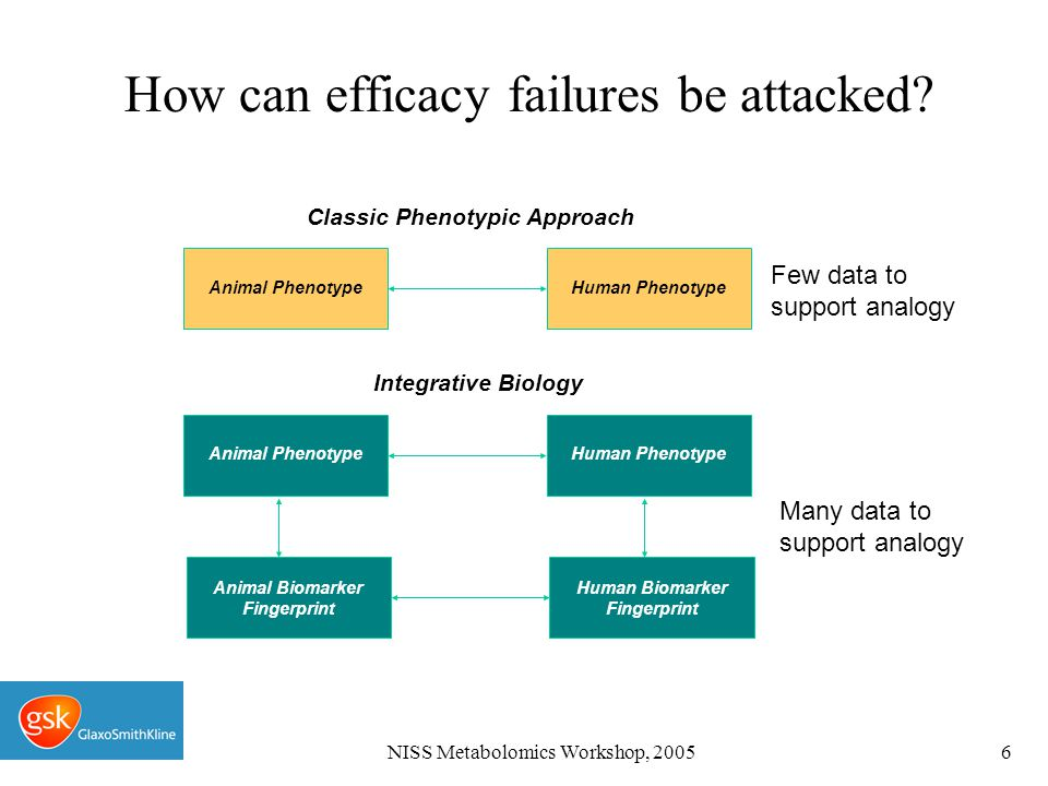 NISS Metabolomics Workshop, 20056 How can efficacy failures be attacked.