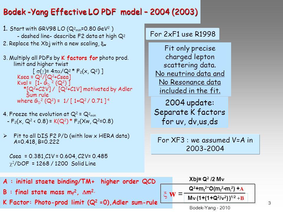 Bodek -Yang Effective LO PDF model – 2004 (2003) 1.
