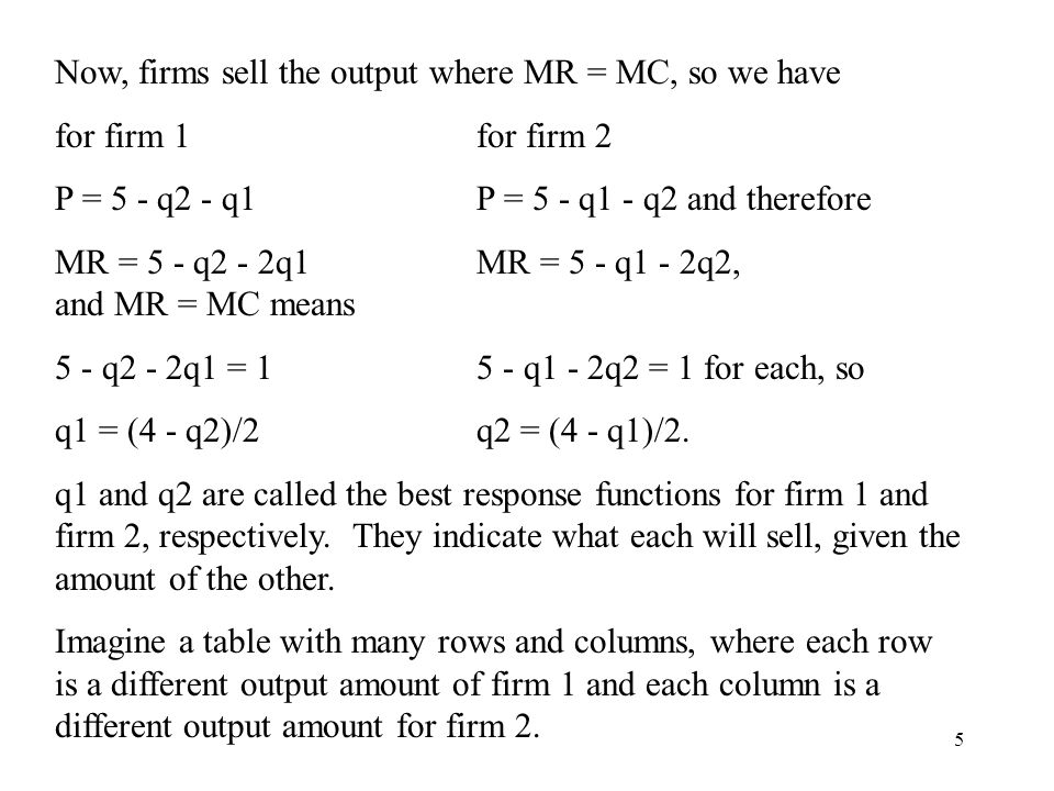 5 Now, firms sell the output where MR = MC, so we have for firm 1for firm 2 P = 5 - q2 - q1P = 5 - q1 - q2 and therefore MR = 5 - q2 - 2q1MR = 5 - q1 - 2q2, and MR = MC means 5 - q2 - 2q1 = 15 - q1 - 2q2 = 1 for each, so q1 = (4 - q2)/2q2 = (4 - q1)/2.