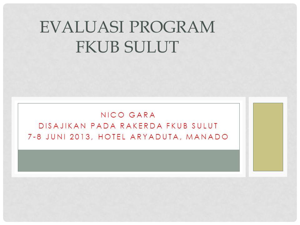 NICO GARA DISAJIKAN PADA RAKERDA FKUB SULUT 7-8 JUNI 2013, HOTEL ARYADUTA, MANADO EVALUASI PROGRAM FKUB SULUT