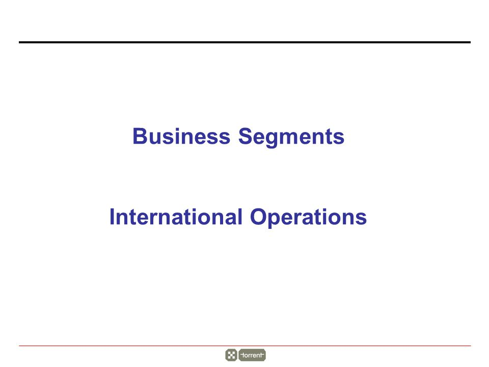 Business Segments International Operations