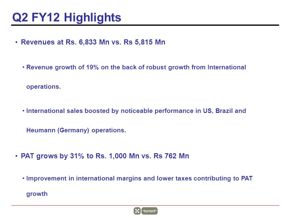 Q2 FY12 Highlights Revenues at Rs. 6,833 Mn vs.