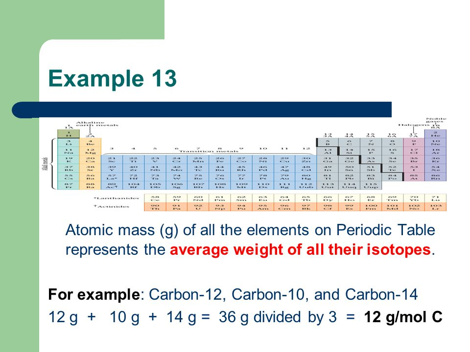 Example 13 Atomic mass (g) of all the elements on Periodic Table represents the average weight of all their isotopes.
