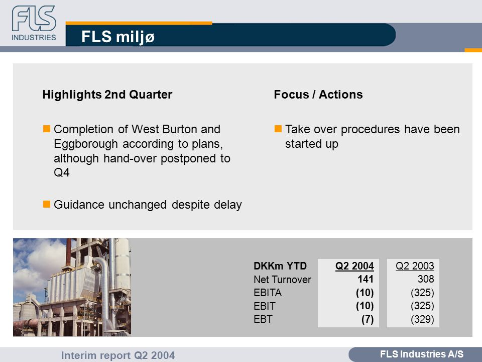FLS Industries A/S Interim report Q2 2004 FLS miljø Highlights 2nd Quarter nCompletion of West Burton and Eggborough according to plans, although hand-over postponed to Q4 nGuidance unchanged despite delay Focus / Actions nTake over procedures have been started up Q2 2003 308 (325) (329) Q2 2004 141 (10) (7) DKKm YTD Net Turnover EBITA EBIT EBT