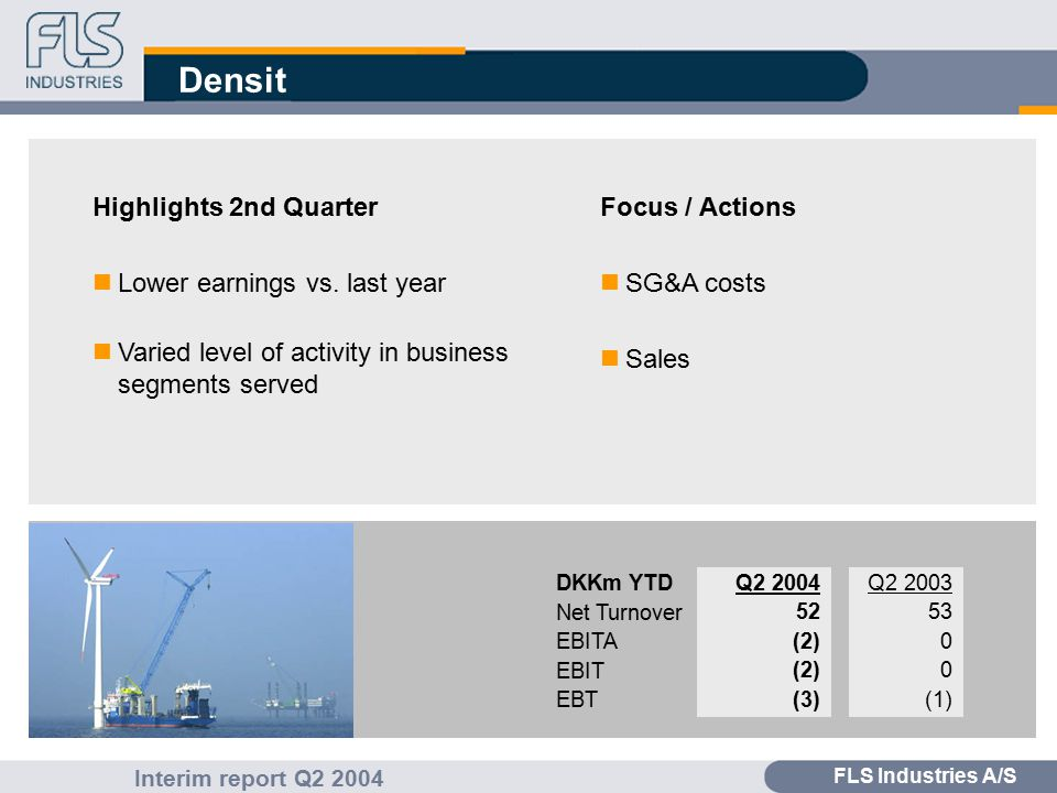 FLS Industries A/S Interim report Q2 2004 Densit Highlights 2nd Quarter nLower earnings vs.