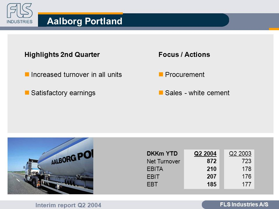 FLS Industries A/S Interim report Q2 2004 Aalborg Portland Highlights 2nd Quarter nIncreased turnover in all units nSatisfactory earnings Focus / Actions nProcurement nSales - white cement Q2 2003 723 178 176 177 Q2 2004 872 210 207 185 DKKm YTD Net Turnover EBITA EBIT EBT