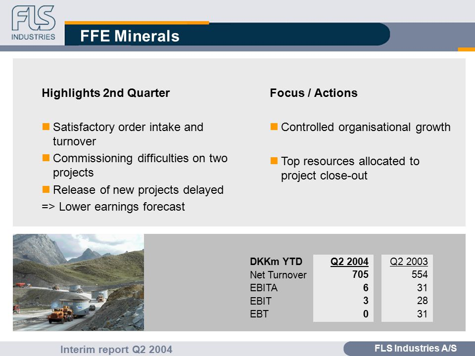 FLS Industries A/S Interim report Q2 2004 FFE Minerals Highlights 2nd Quarter nSatisfactory order intake and turnover nCommissioning difficulties on two projects nRelease of new projects delayed => Lower earnings forecast Focus / Actions nControlled organisational growth nTop resources allocated to project close-out Q2 2003 554 31 28 31 Q2 2004 705 6 3 0 DKKm YTD Net Turnover EBITA EBIT EBT