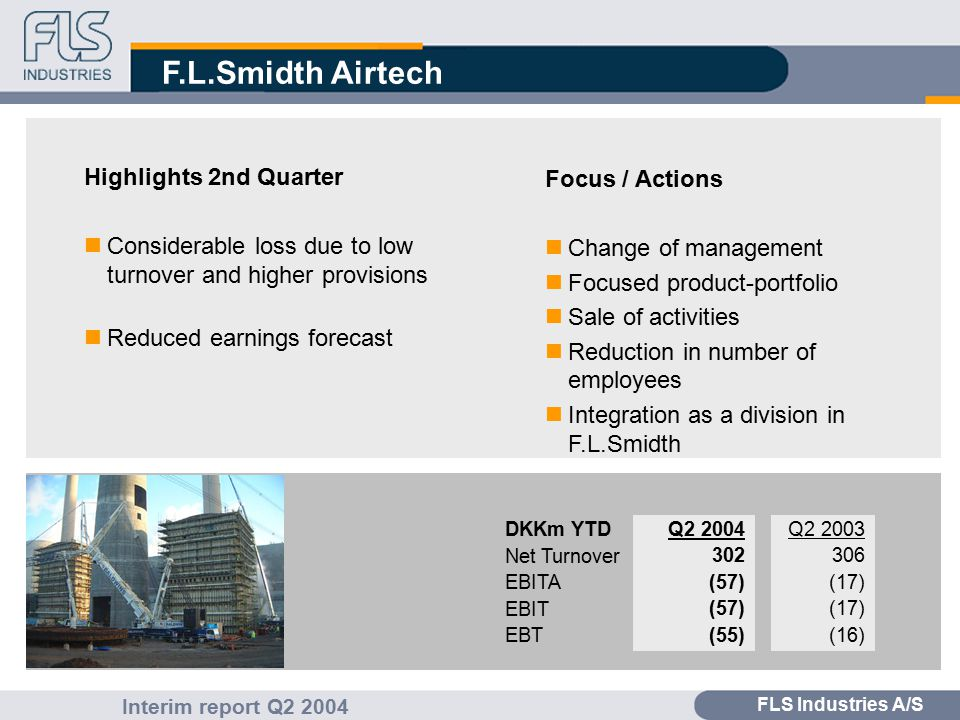 FLS Industries A/S Interim report Q2 2004 F.L.Smidth Automation Highlights 2nd Quarter nSatisfactory order bookings nPositive development in aftermarket Focus / Actions nIntegration of F.L.Smidth Automation and F.L.Smidth activities in USA nDo.