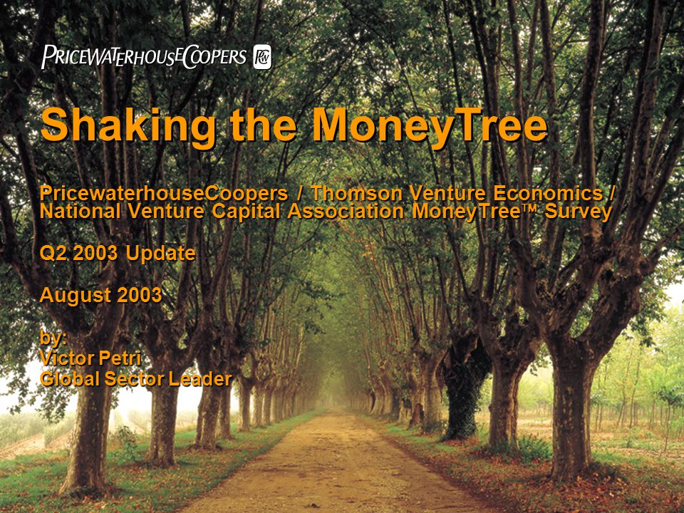 PricewaterhouseCoopers / Thomson Venture Economics / National Venture Capital Association MoneyTree  Survey Q2 2003 Update August 2003 by: Victor Petri Global Sector Leader Shaking the MoneyTree